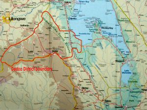 Map showing Dedza boundary - click to view larger version of the map